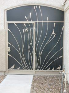 Porch enclosure with ocotillo and quails motif 6003 E - Designed and installed in Tucson