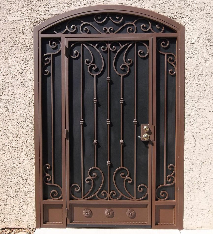 Security door and enclosure with scroll work 7000 E - Made in Tucson