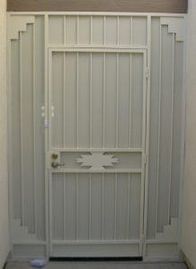 Security door with southwestern geometric motif - Painted white - 6015 E - Made in Tucson