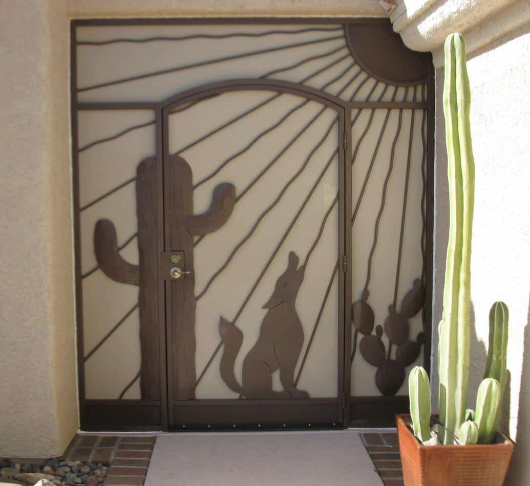 Security enclosure with a southwestern flavor with coyote, saguaro, cactu and sunrays 6013 E