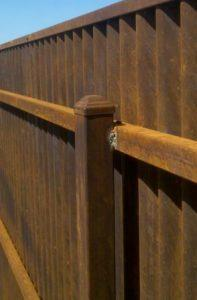 Corrugated Steel Fence | Close-up of Backside of Corrugated Steel Fence