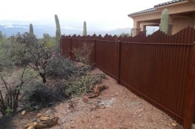 Corrugated Steel Fence with Mountain Top Design | CF232-4