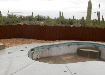 Corrugated Steel Fence with Mountain Top Design   Rusted Metal Fence