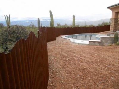 Corrugated Steel Fence Mountain Top Design | CF232-2