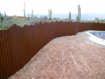 Corrugated Steel Fence with Mountain Top Deisgn | CF232