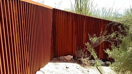 Corrugated Steel Fence   Metal Fence   Rusted Corrugated Metal Fence