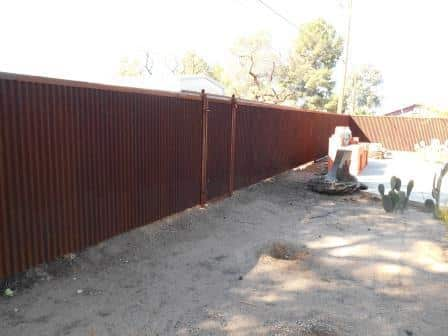 Corrugated Steel Fence with Gate | Rusted Metal Fence with Gate