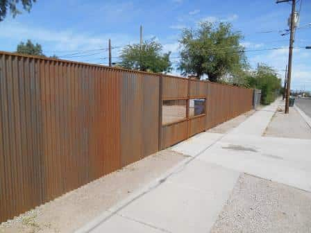 Corrugated Steel Fence with Double Gate | Rusted Metal Fence