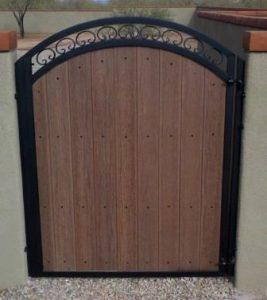 Iron and Synthetic Wood Gate | Single Iron and Synthetic Wood Gate with Double Arch and Scrolls