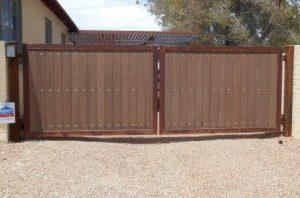 Iron and Synthetic Wood Double Gate | Steel and Wood Gate