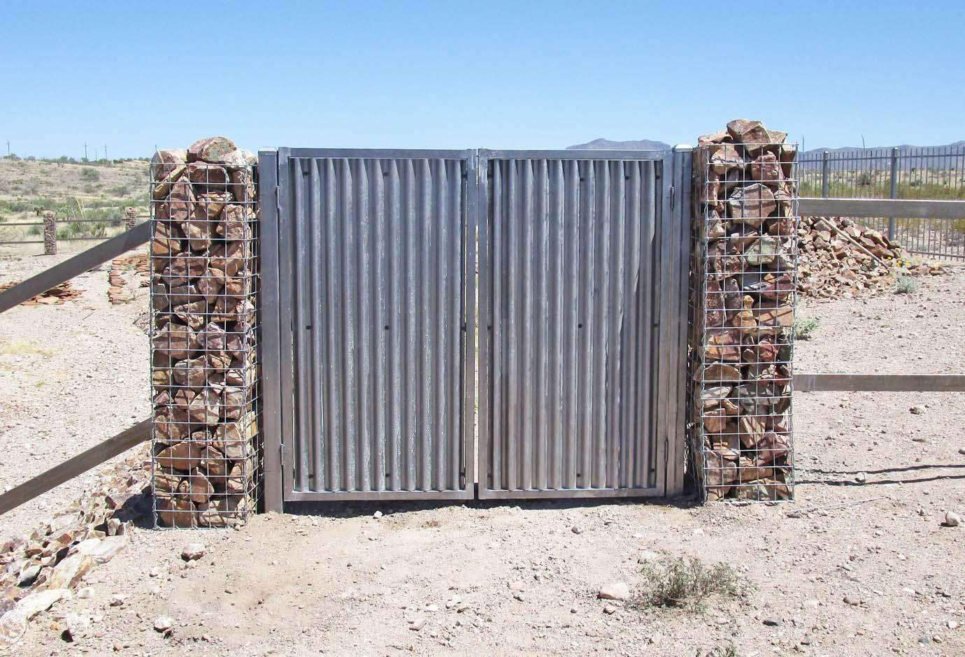 Corrugated Steel Gate   Signature Ironworks   Affordable Fence & Gates   Rusty   Natural Rust