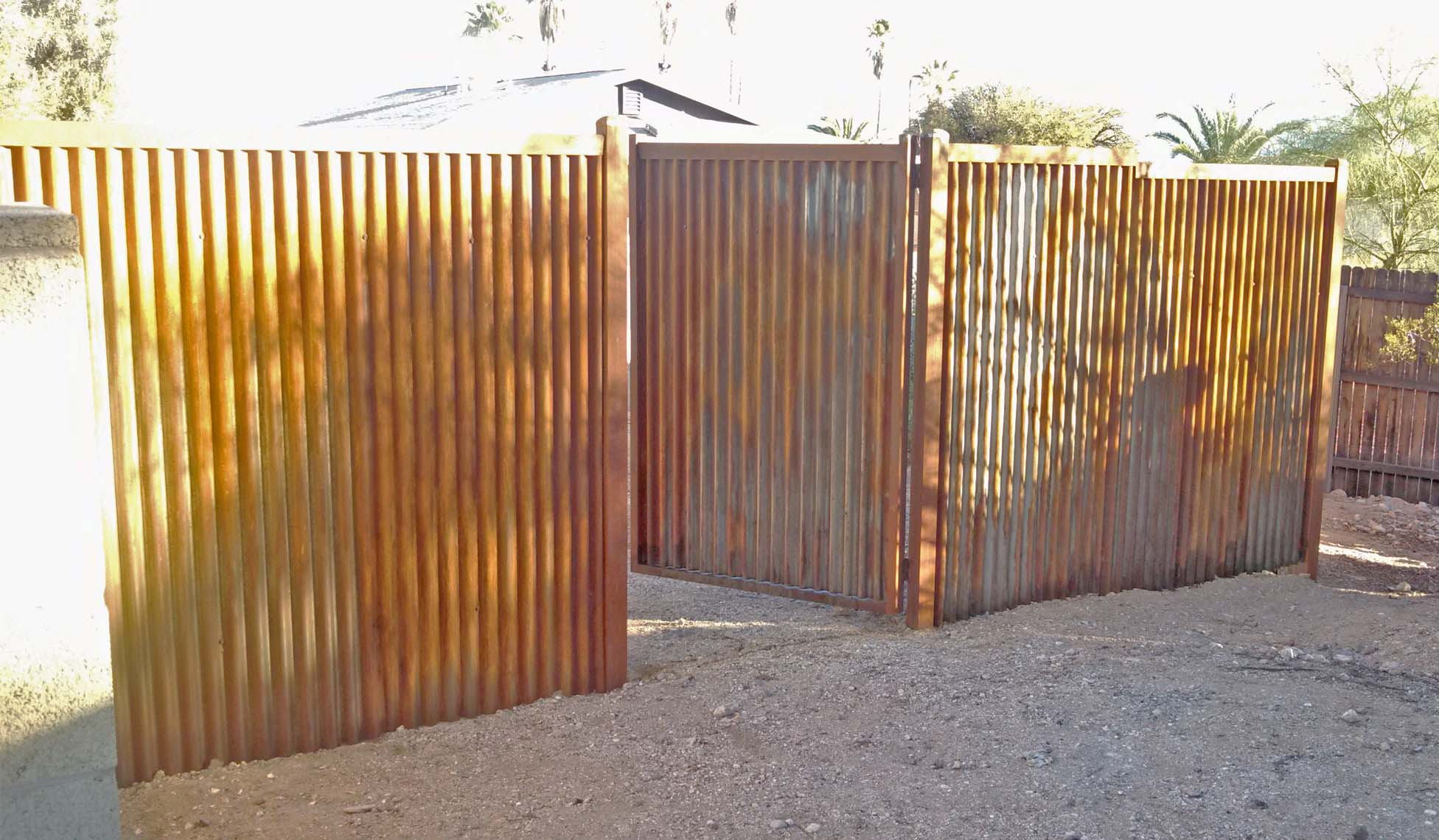Corrugated Steel Gate | Signature Ironworks | Affordable Fence & Gates | Rusty | Natural Rust