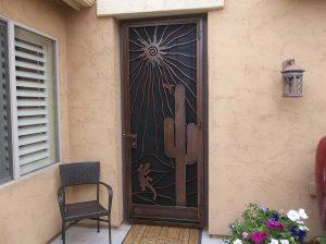 Security door with southwestern decorations