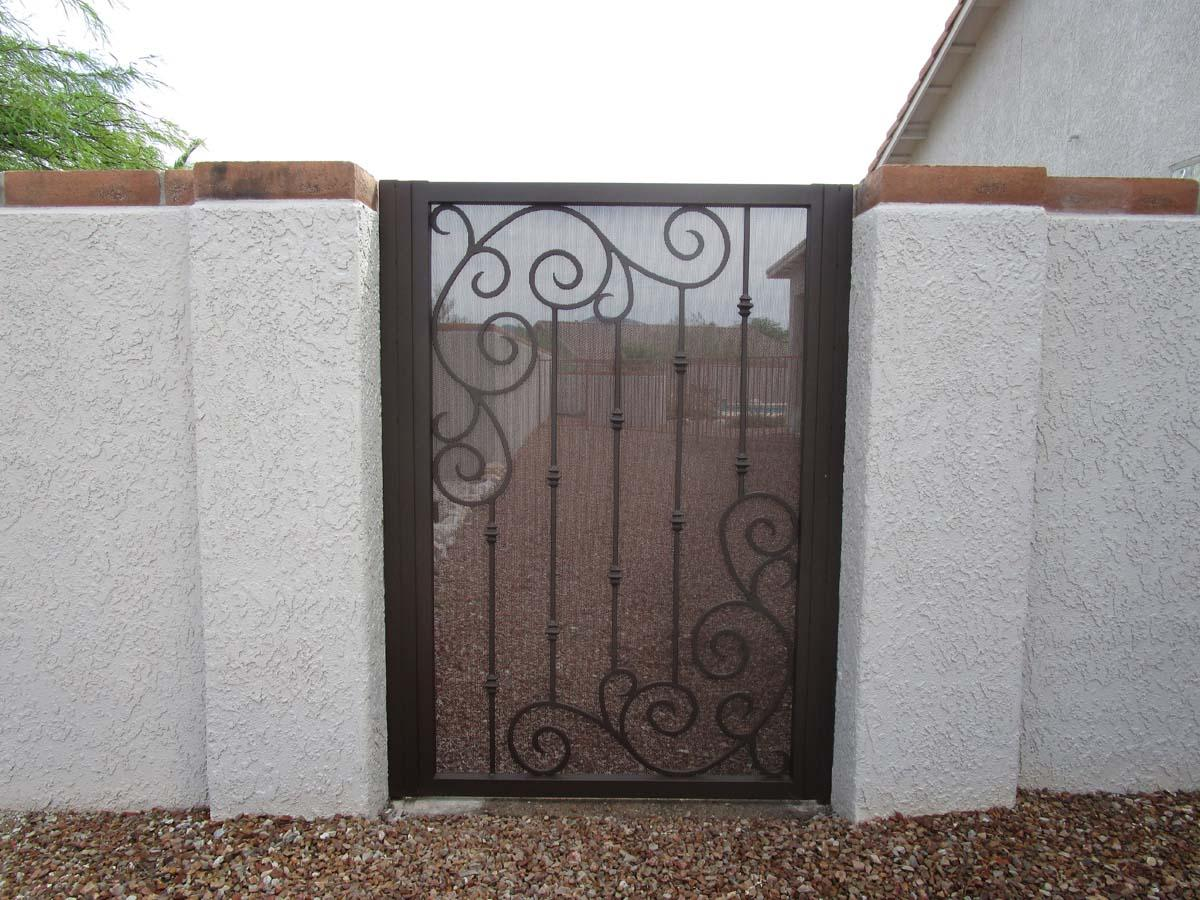 Wrought iron gate with scroll work - Made in Tucson