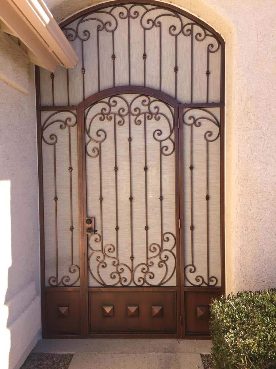Security door with arched top and scrolls 2034 - Installed in Tucson