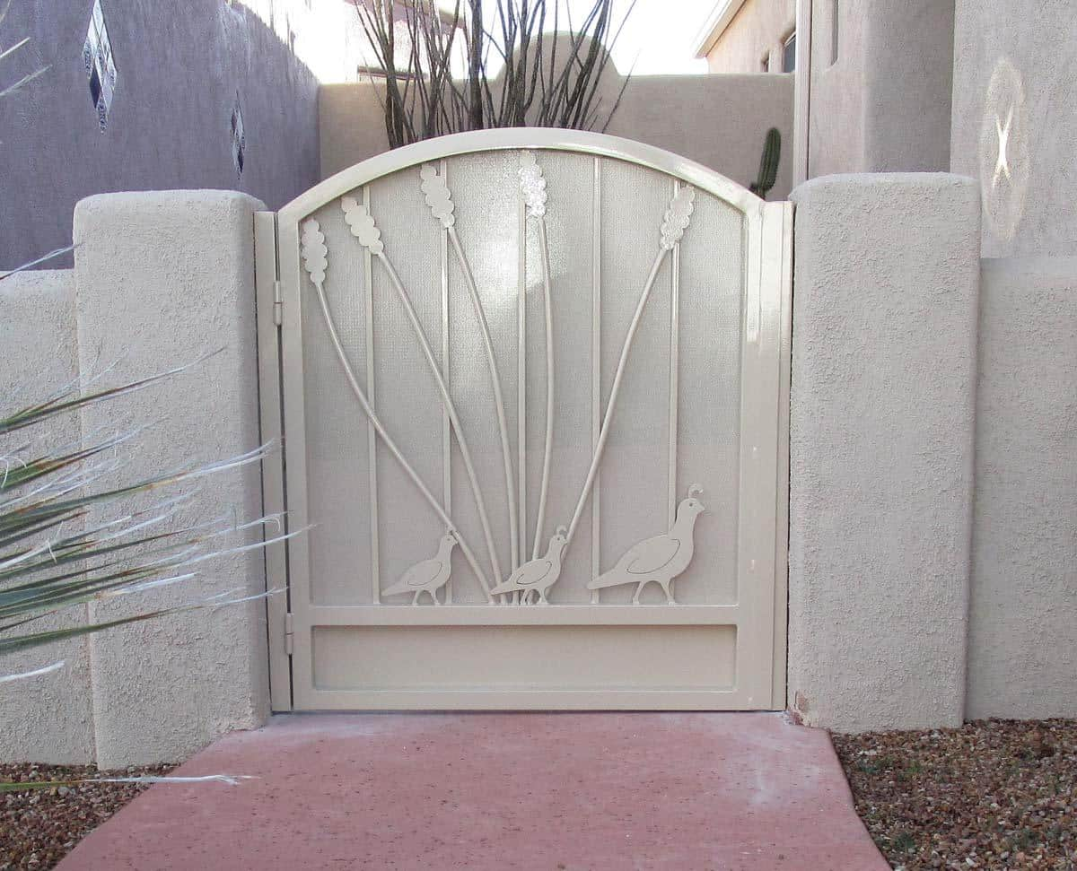 White wrought iron gate with ocotillo and quails with a metal backing plate IMG 0451