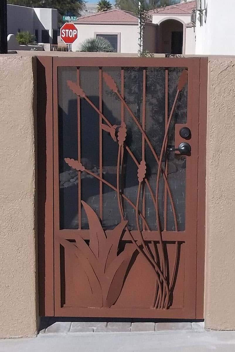 wrought iron gate with agave and hummingbird and ocotillo cutouts 100 0663