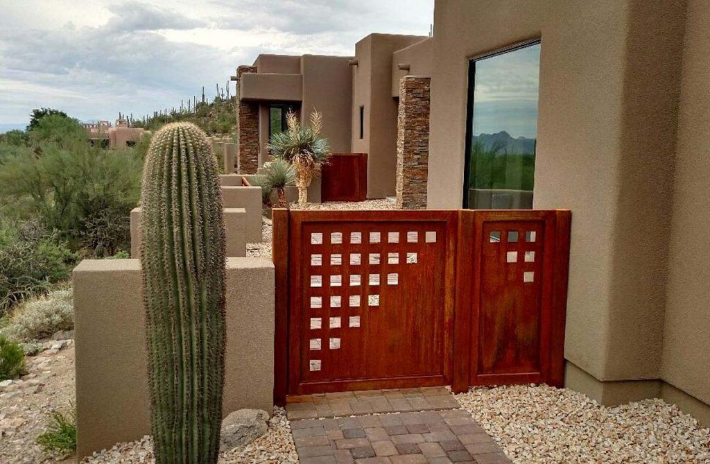 wrought iron gate with geometric motif installed in the Catalina Foothills of Tucson