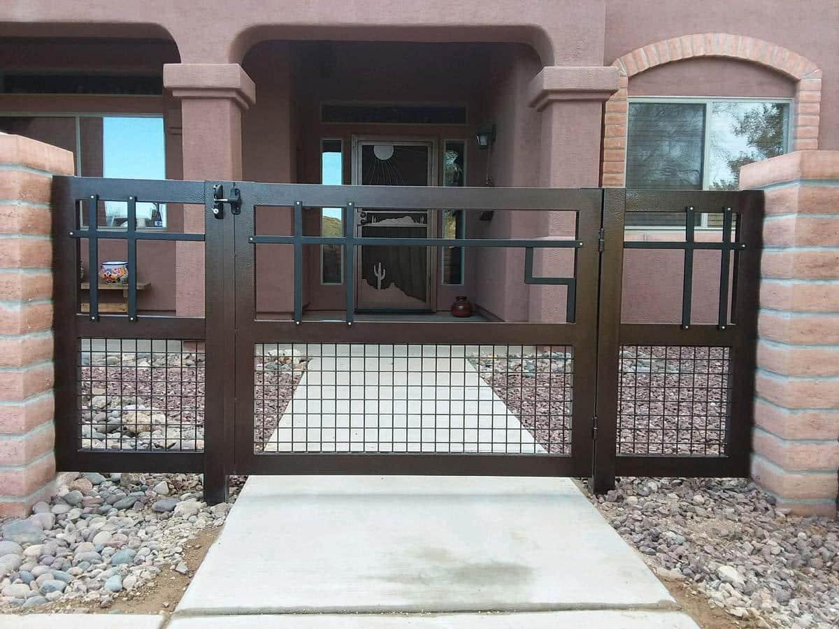 Wrought iron gate with side panels, trellis and geometric patterns 112917 - Made in Tucson