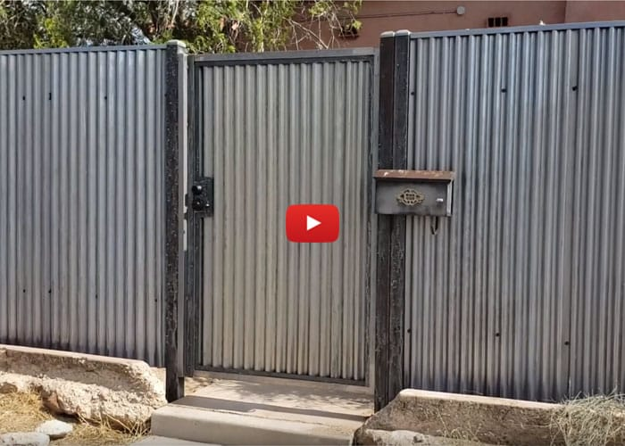 Corrugated Steel Fence - Feldman Neighborhood in Tucson AZ - Affordable Fence & Gates